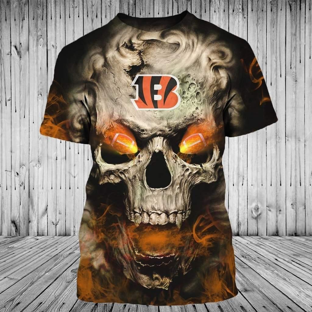 Skull cincinnati bengals full printing tshirt