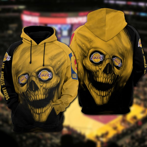 Skull los angeles lakers full printing hoodie