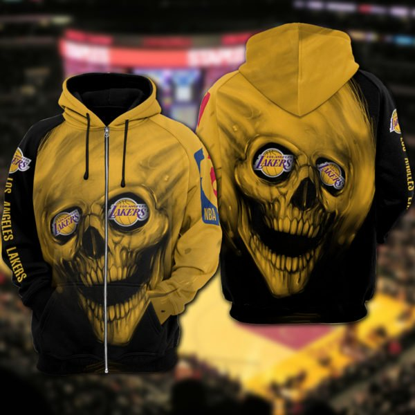 Skull los angeles lakers full printing zip hoodie 1