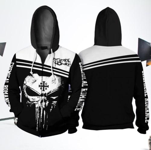Skull my chemical romance full printing zip hoodie