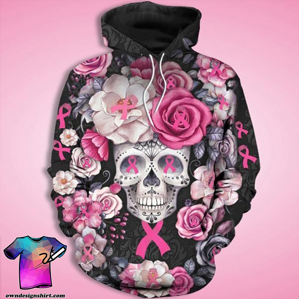 Skull rose breast cancer awareness full printing shirt