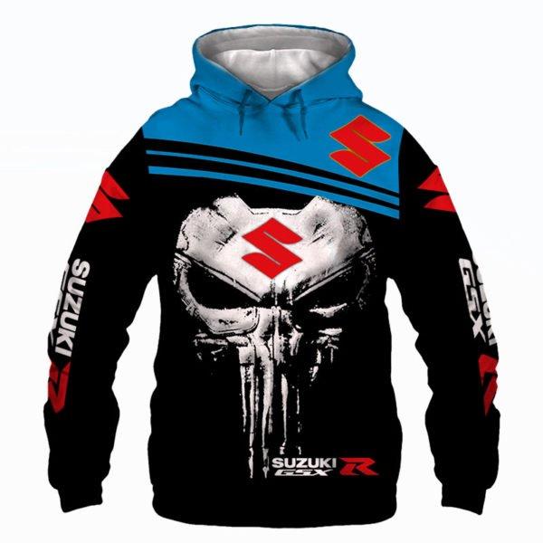 Skull suzuki gsx-r all over print hoodie