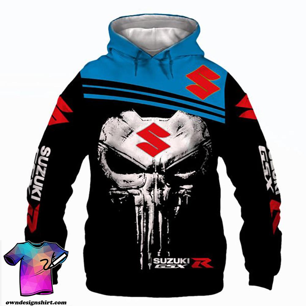 Skull suzuki gsx-r all over print shirt