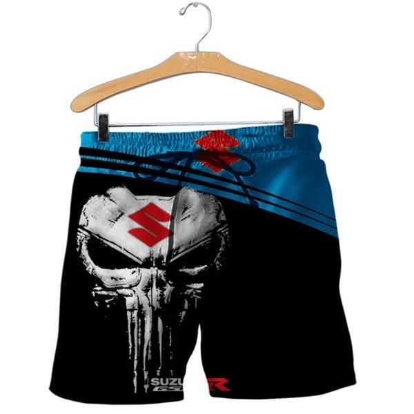 Skull suzuki gsx-r all over print shorts
