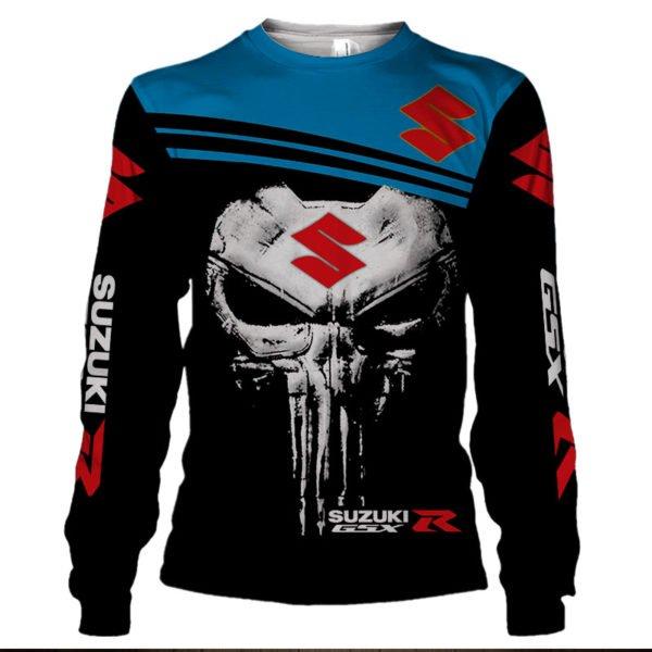 Skull suzuki gsx-r all over print sweatshirt