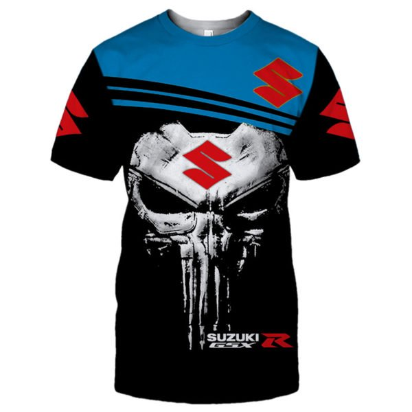 Skull suzuki gsx-r all over print tshirt