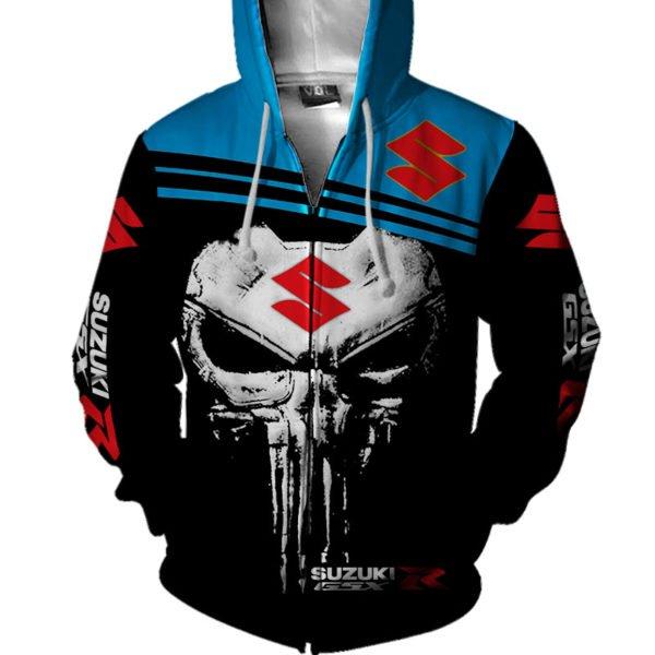 Skull suzuki gsx-r all over print zip hoodie
