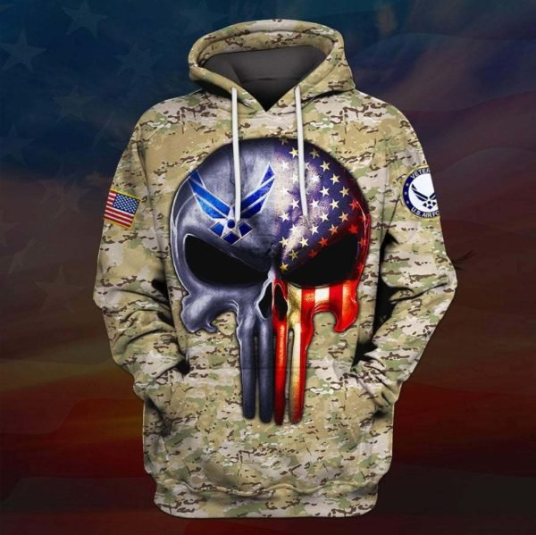 Skull the united states air force full printing hoodie