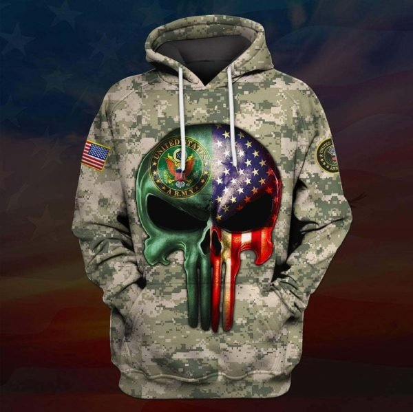 Skull the united states army full printing hoodie