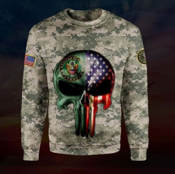 Skull the united states army full printing sweatshirt
