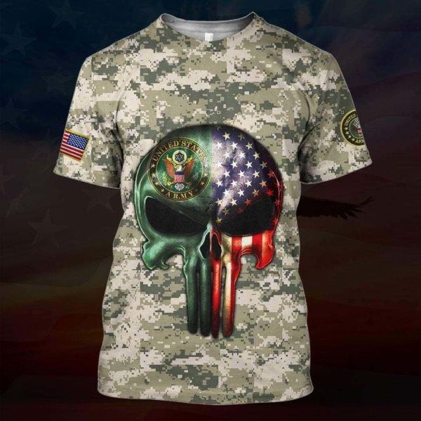 Skull the united states army full printing tshirt