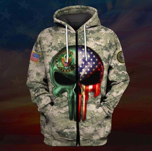 Skull the united states army full printing zip hoodie