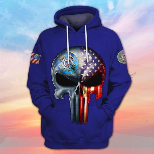 Skull the united states coast guard full printing hoodie
