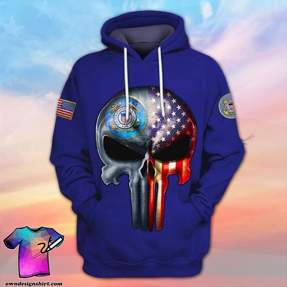 Skull the united states coast guard full printing shirt