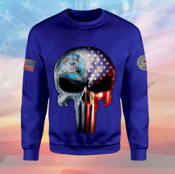 Skull the united states coast guard full printing sweatshirt