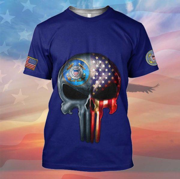 Skull the united states coast guard full printing tshirt