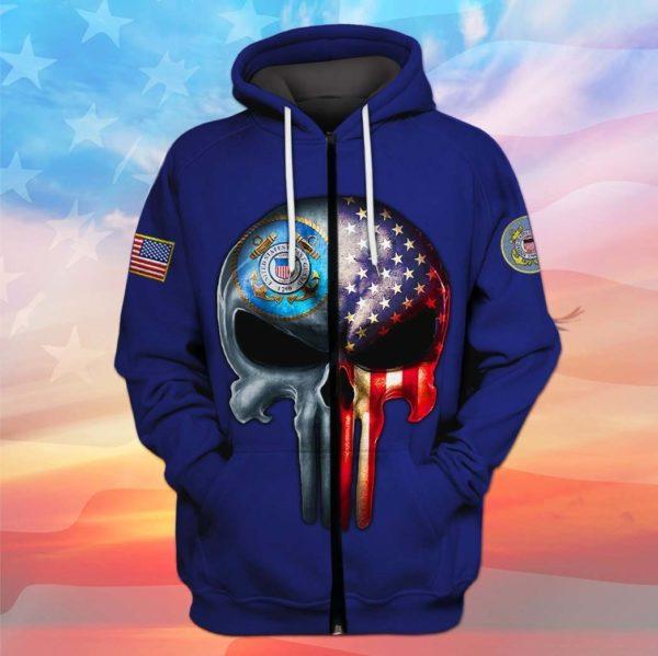 Skull the united states coast guard full printing zip hoodie