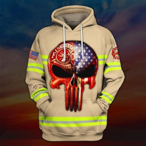 Skull the united states firefighter full printing hoodie