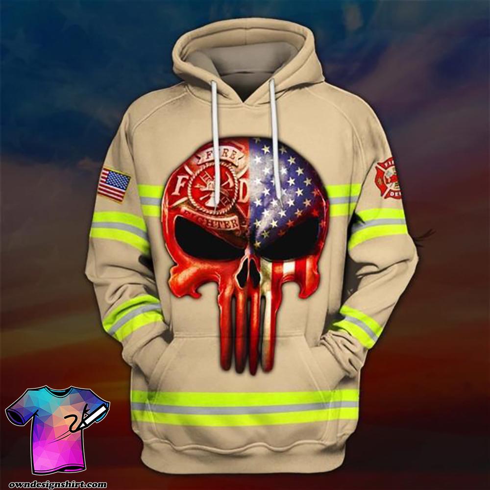 Skull the united states firefighter full printing shirt
