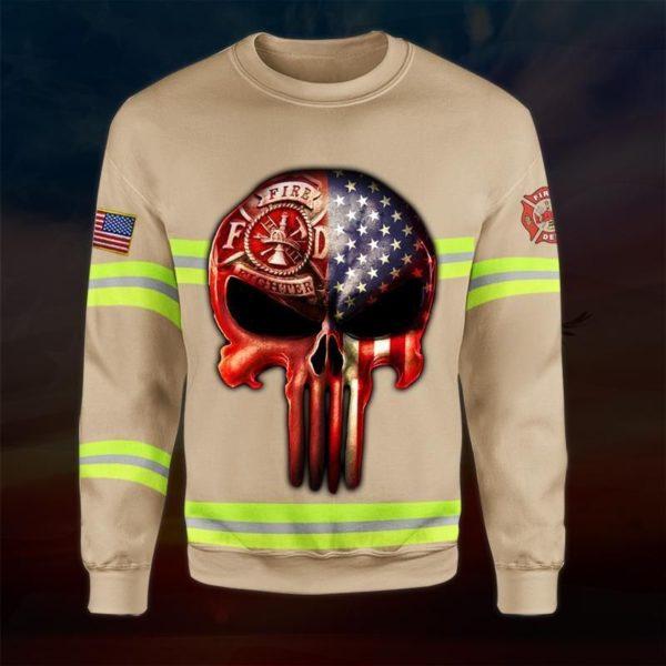 Skull the united states firefighter full printing sweatshirt