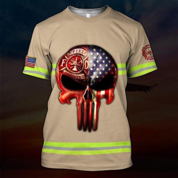 Skull the united states firefighter full printing tshirt