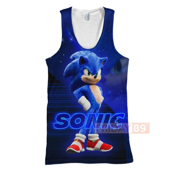 Sonic the hedgehog full printing tank top
