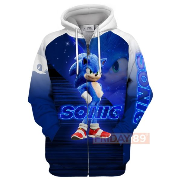 Sonic the hedgehog full printing zip hoodie