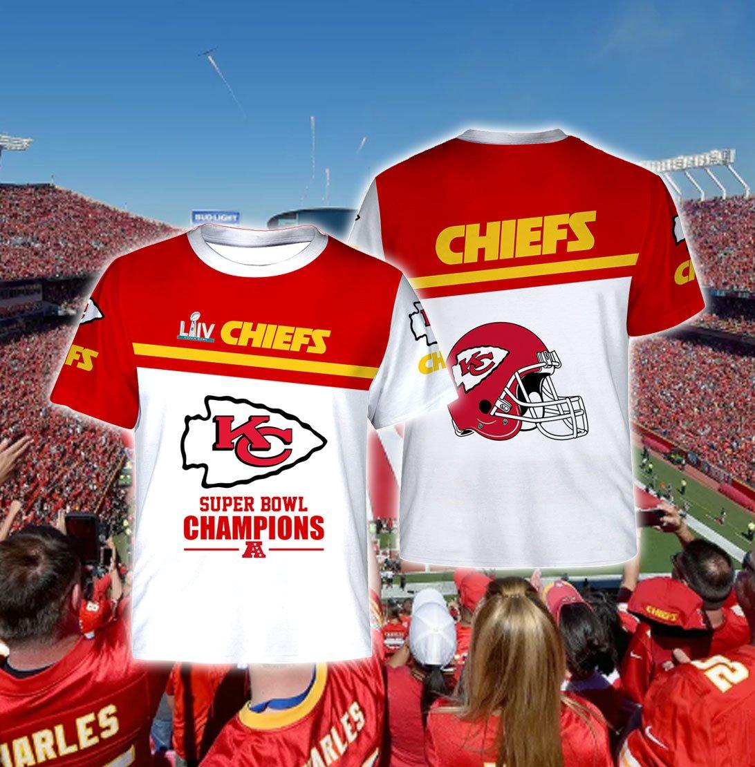 Super bowl champions kansas city chiefs full printing tshirt