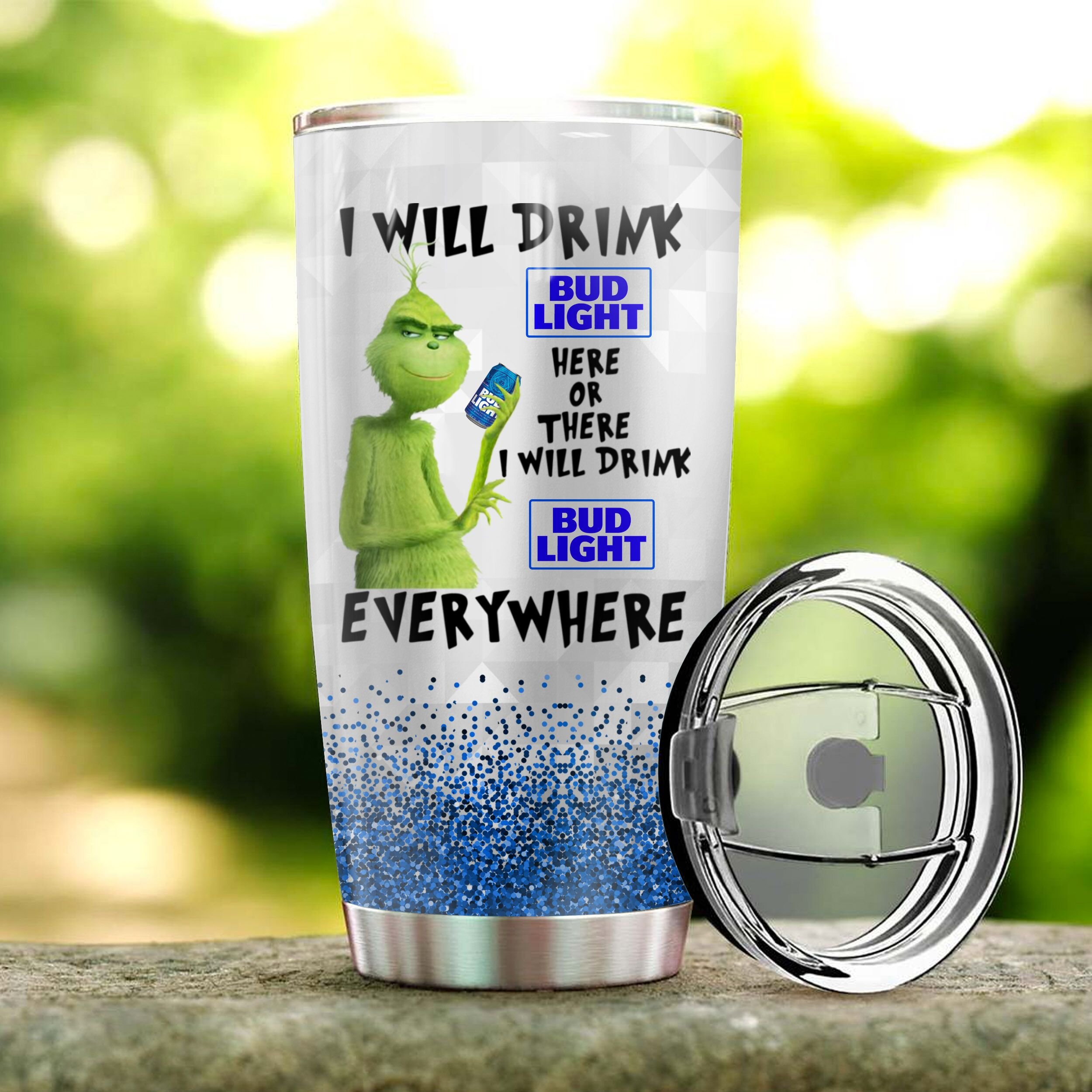 The grinch i will drink bud light all over print tumbler 3