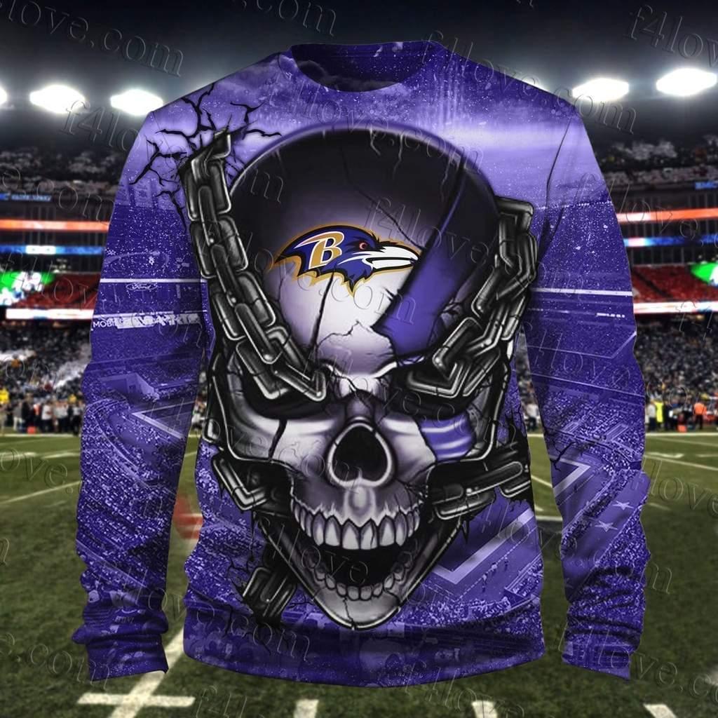 The punisher baltimore ravens full printing sweatshirt 1