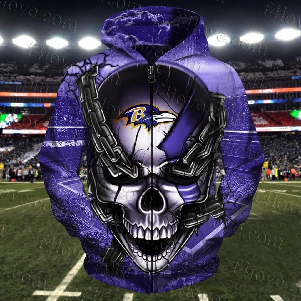 The punisher baltimore ravens full printing zip hoodie