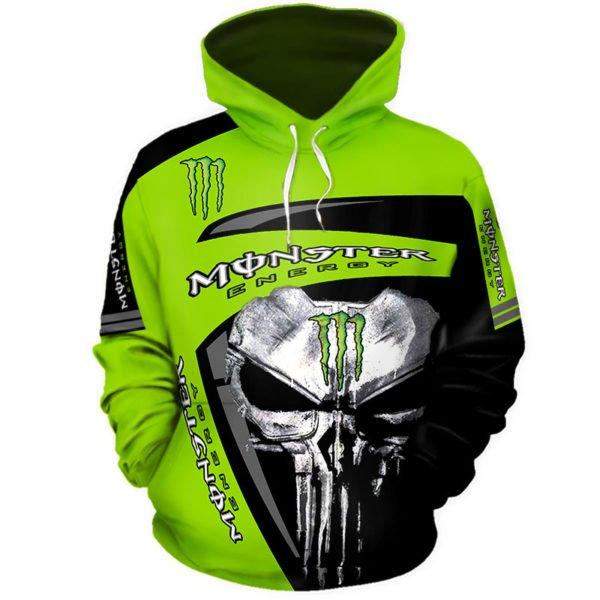 The skull monster energy full printing hoodie