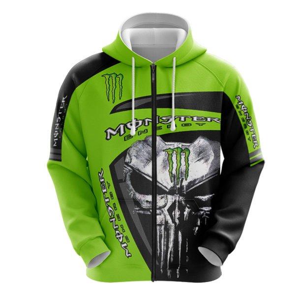 The skull monster energy full printing zip hoodie