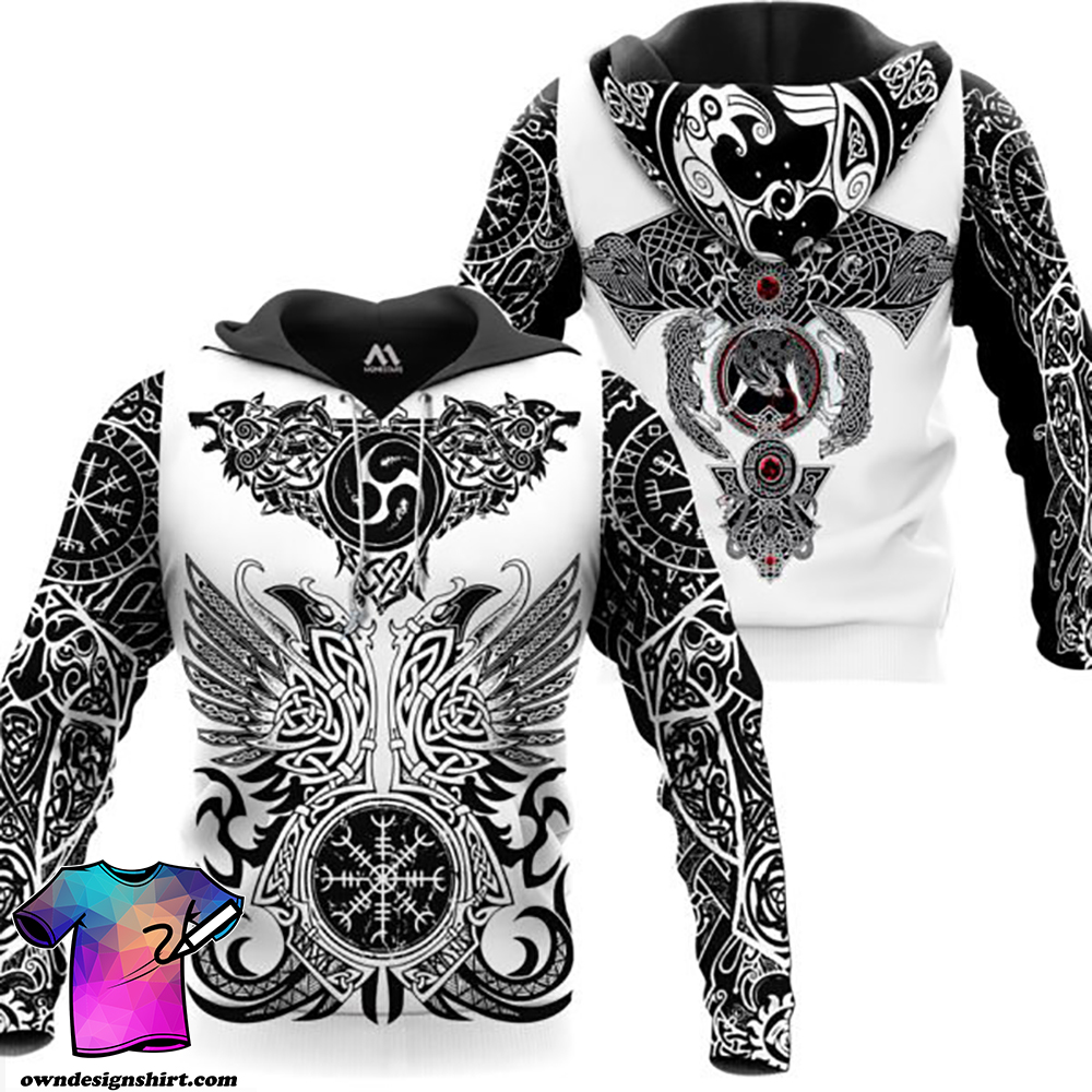 The viking tattoo art 3d full printing shirt