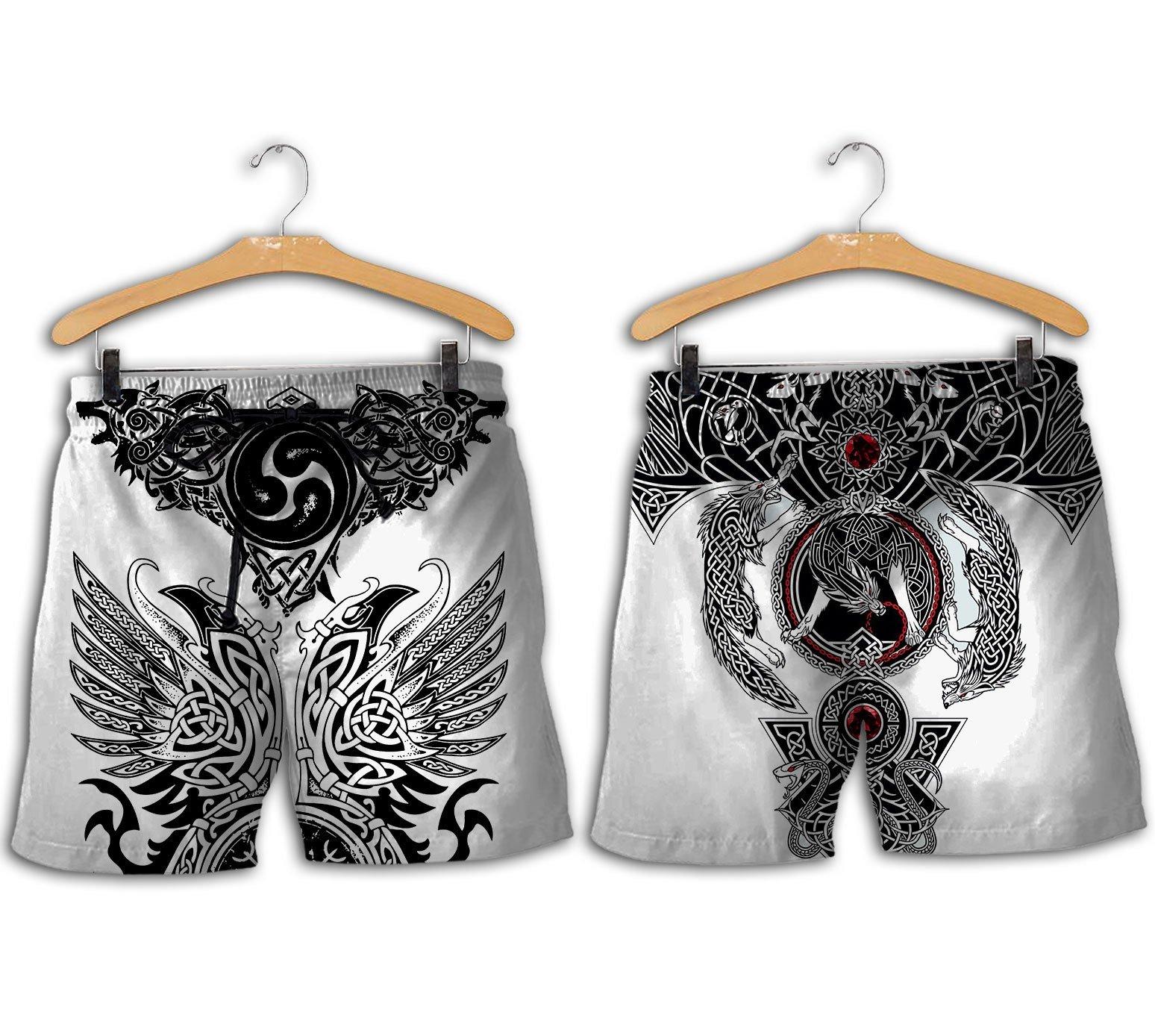 The viking tattoo art 3d full printing shorts