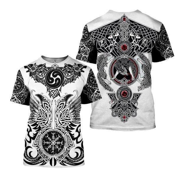 The viking tattoo art 3d full printing tshirt