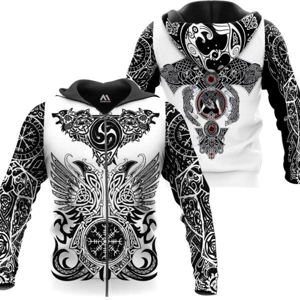 The viking tattoo art 3d full printing zip hoodie
