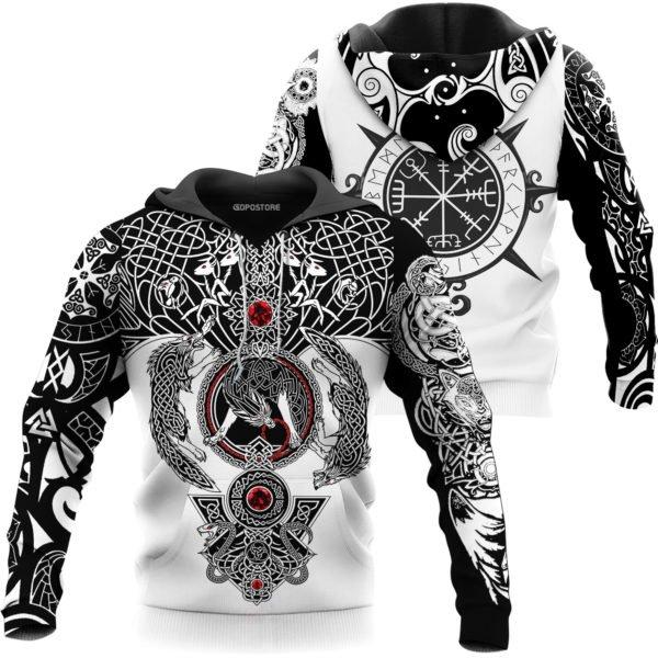 The viking wolf tattoo art 3d full printing hoodie