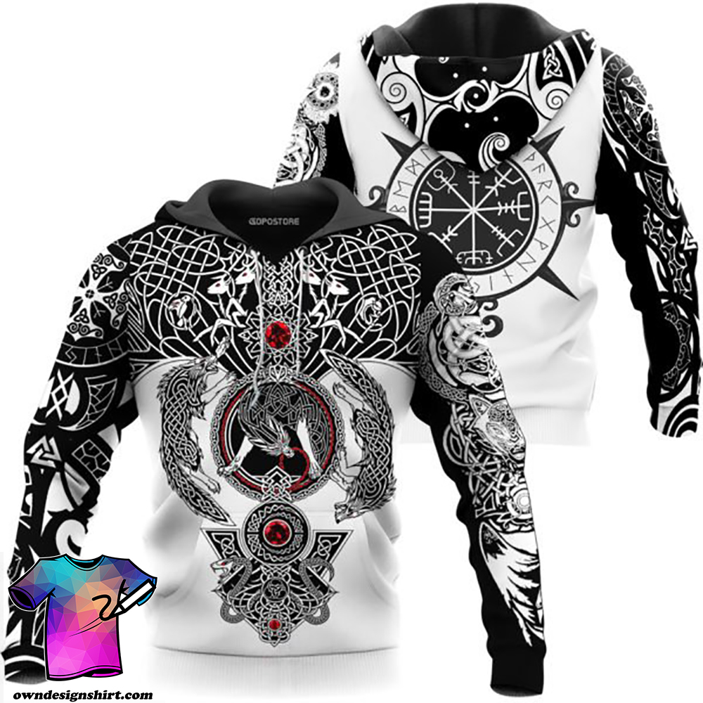 The viking wolf tattoo art 3d full printing shirt