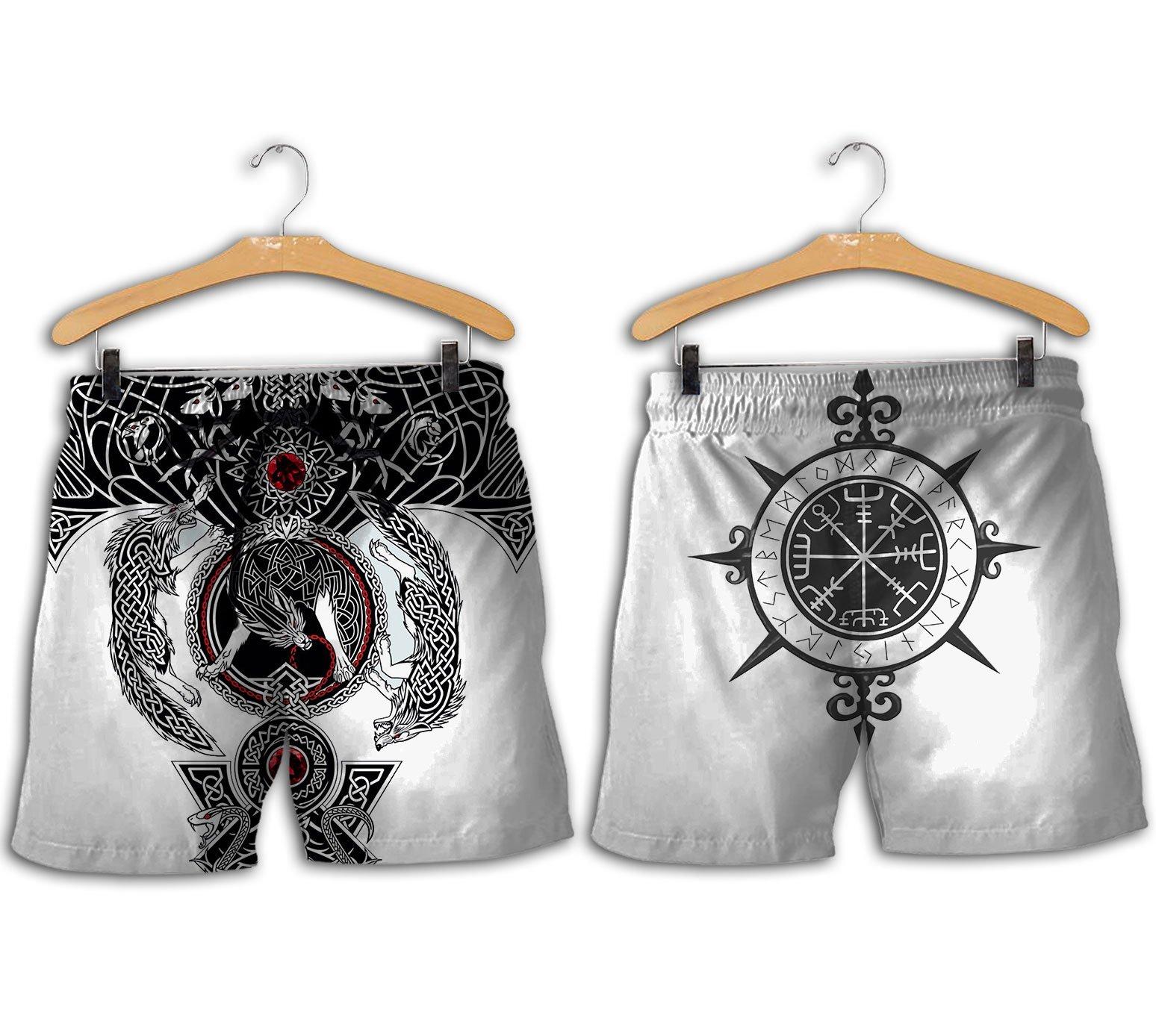 The viking wolf tattoo art 3d full printing shorts