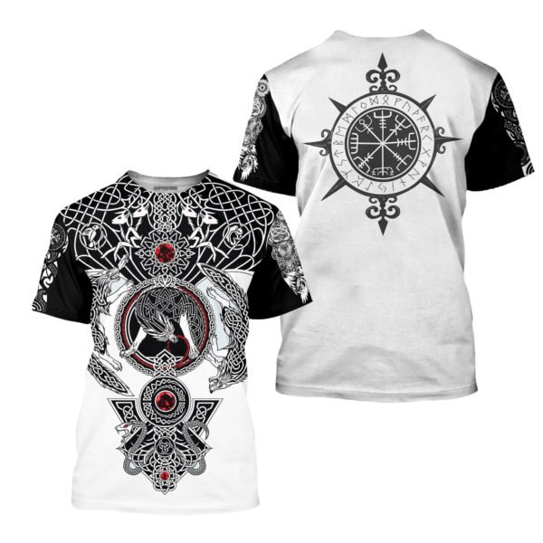 The viking wolf tattoo art 3d full printing tshirt