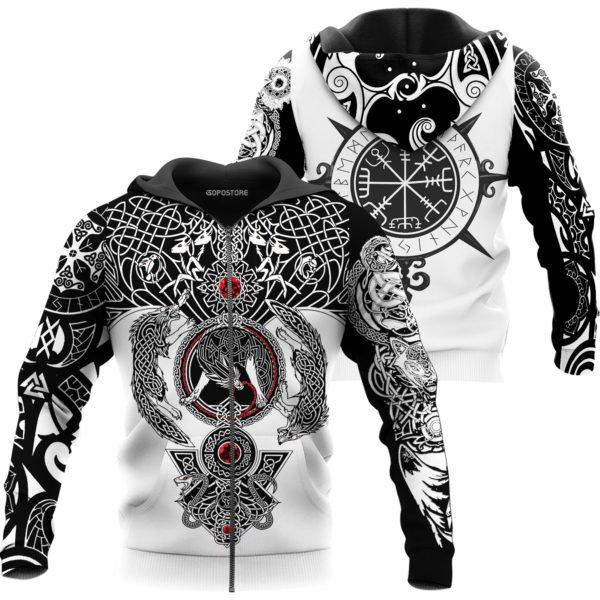The viking wolf tattoo art 3d full printing zip hoodie