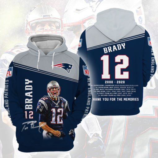Tom brady 12 thank you for the memories full printing hoodie