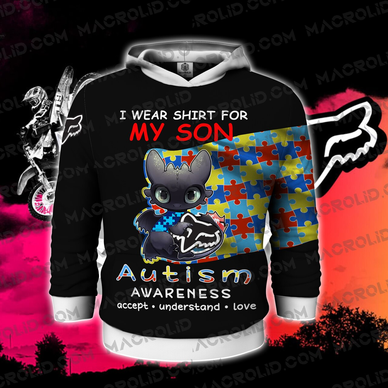 Toothless i wear blue for my son autism awareness all over printed hoodie