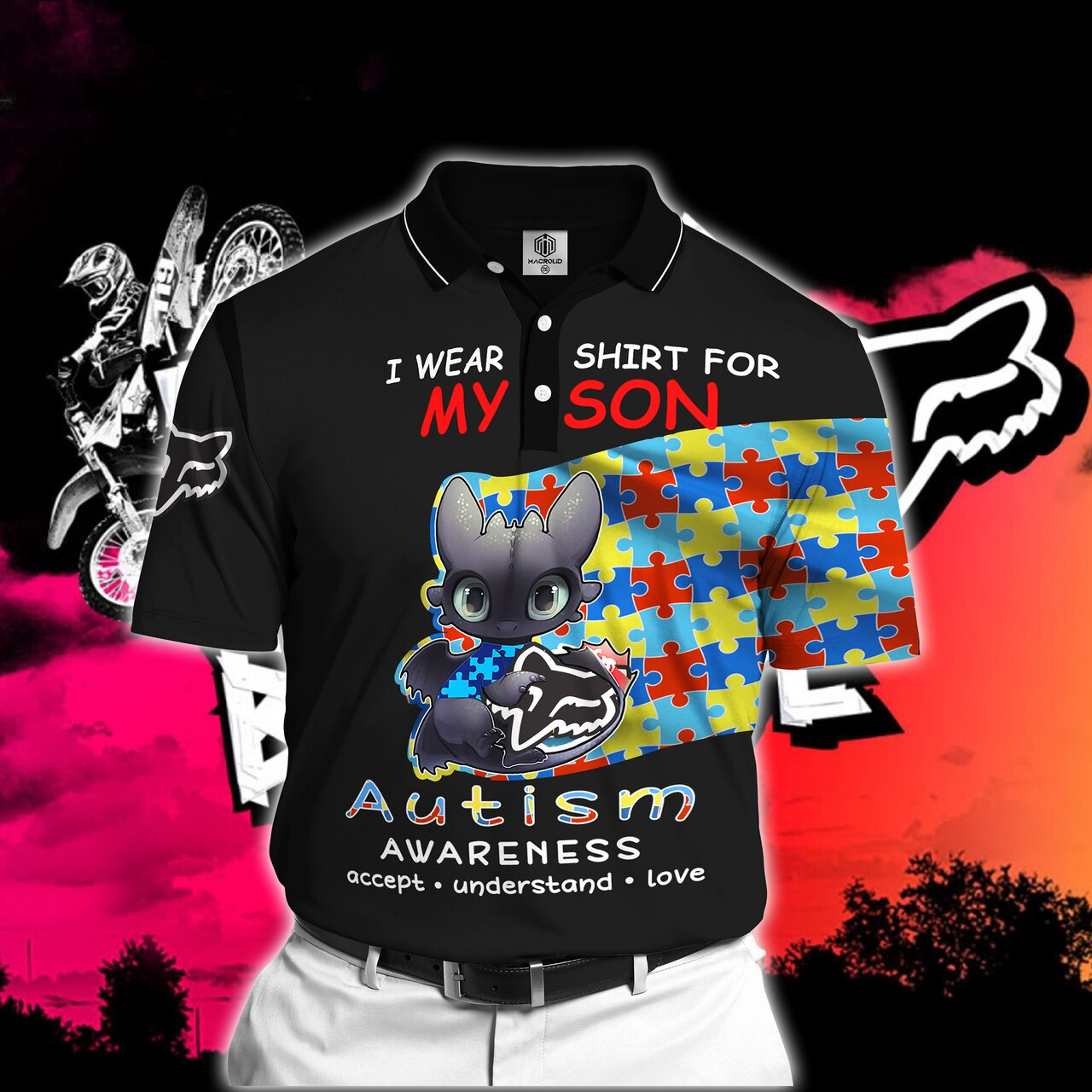 Toothless i wear blue for my son autism awareness all over printed polo