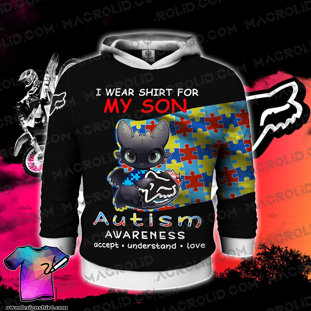 Toothless i wear blue for my son autism awareness all over printed shirt