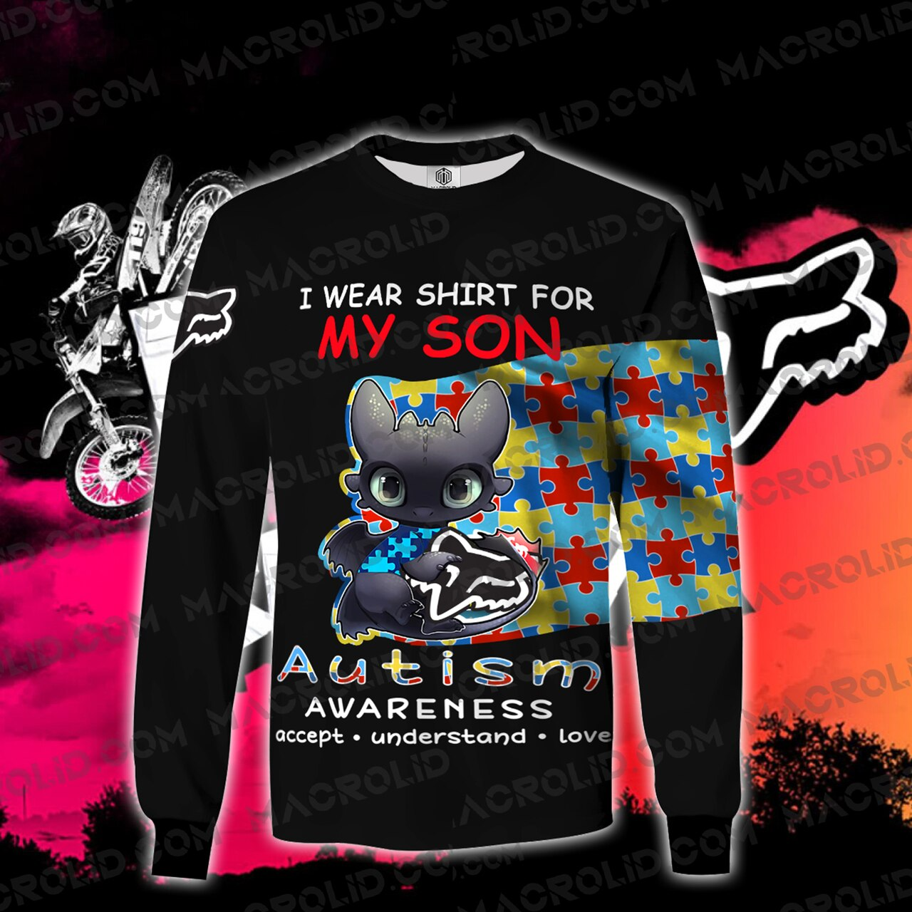 Toothless i wear blue for my son autism awareness all over printed sweatshirt