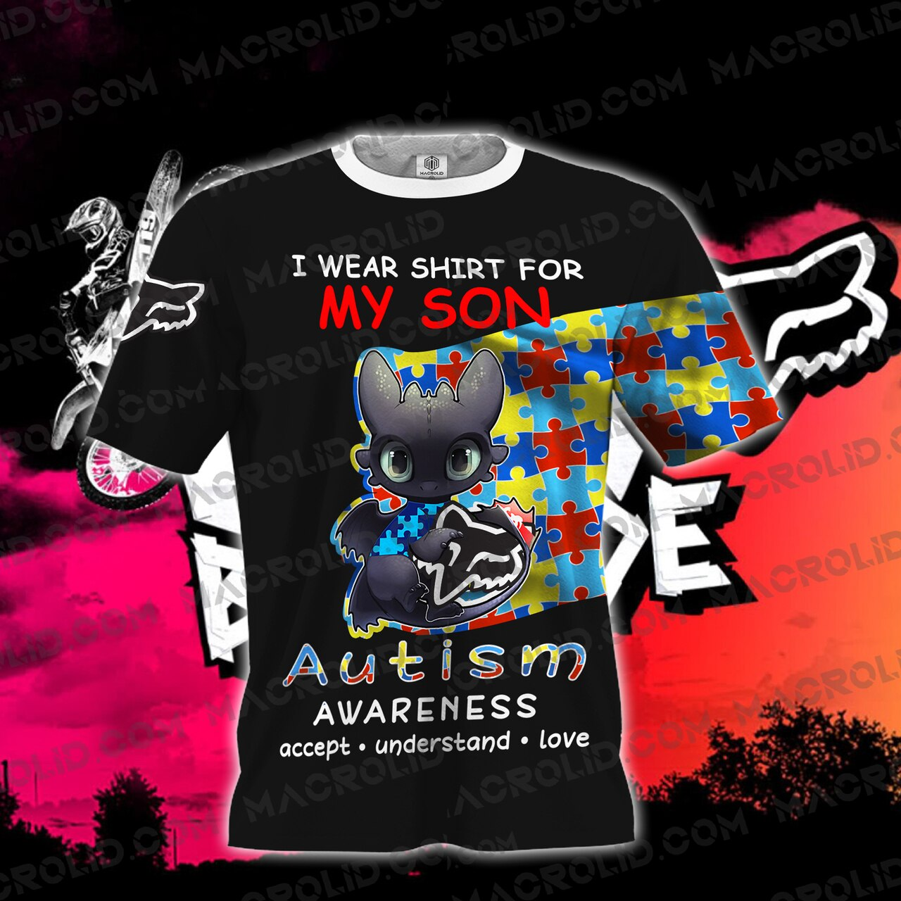 Toothless i wear blue for my son autism awareness all over printed tshirt