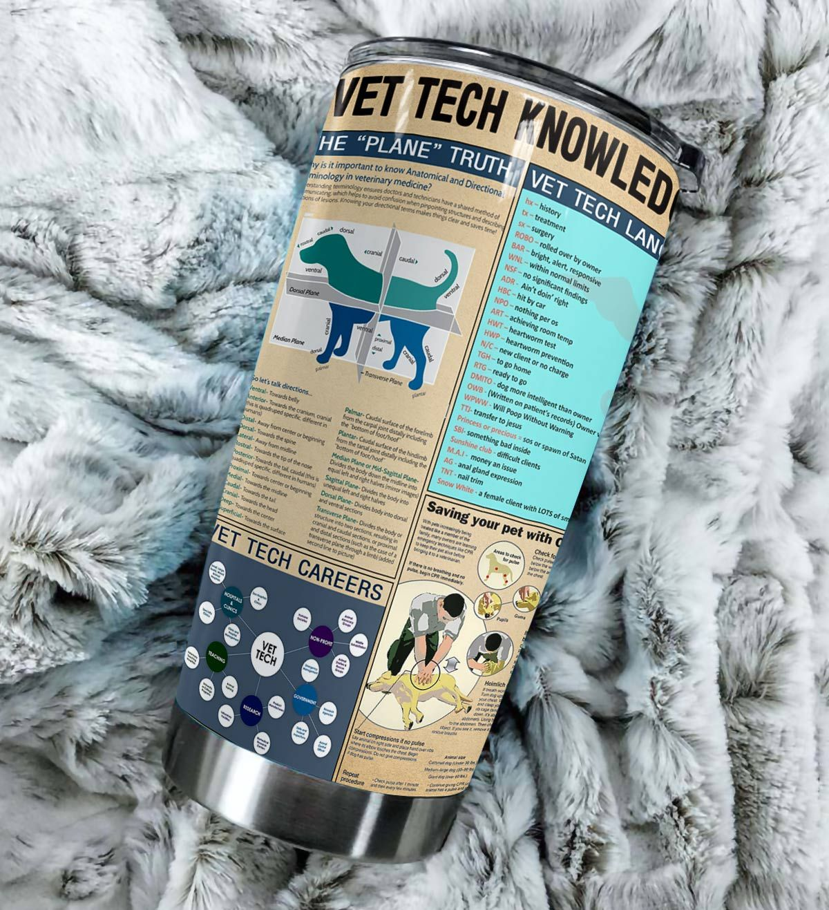 Vet tech knowledge all over printed tumbler 4