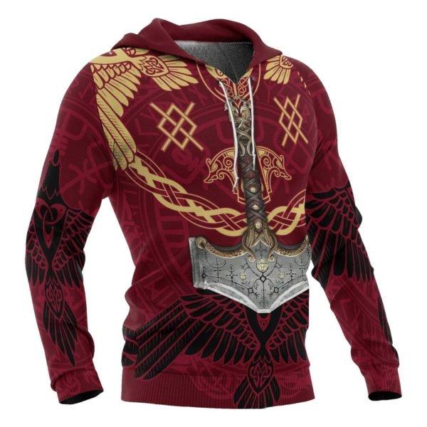 Viking mjolnir all over printed hoodie 2